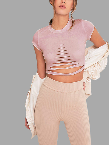 Pink Sexy Round Neck Cut Out Crop Top