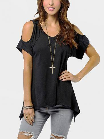 Cold Shoulder Irregular Hem T-shirts in Black