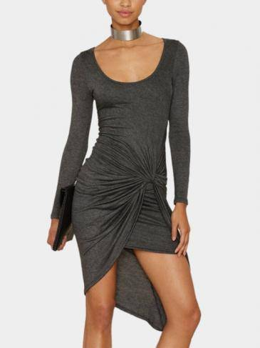 Gray Round Neck Dress With Irregular Hem