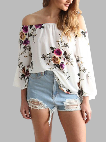White Random Floral Print Off Shoulder Flared Sleeves Loose T-shirt