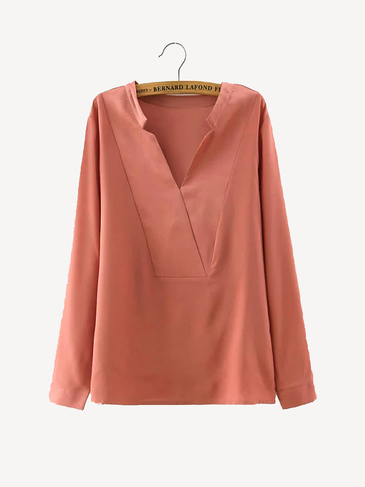 V Neck Blouse in Pink