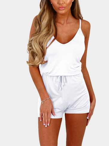 White Sexy V-neck Drawstring Waist Playsuit