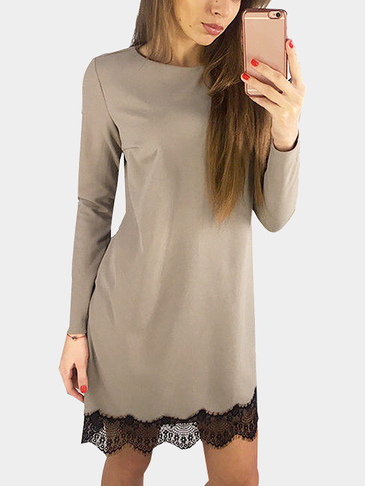 Khaki Casual Long Sleeves Round Neck Lace Hem T-shirt Dress