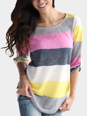 Random Stripe Pattern Curved Hem Shirt