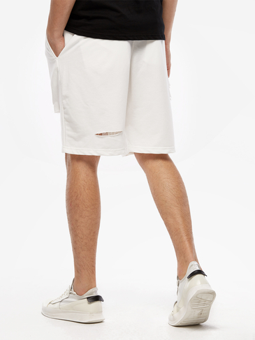 White Fashion Style Ripped Details Drawstring Waist Men's Casual Shorts