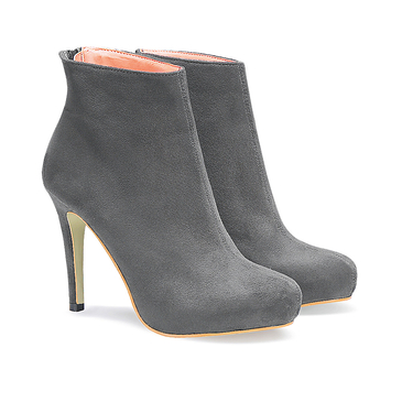 Suede Heeled Ankle Boots in Grey