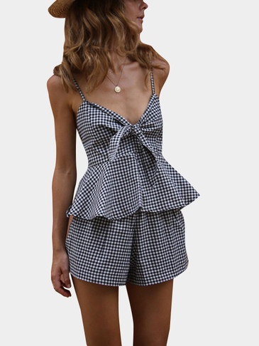 Deep V-neck Sleeveless Two Piece Outfits com Grid Pattern
