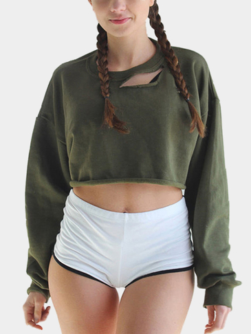 Hollow Out Bat-wing Sleeve Plain Color Crop Sweatshirt
