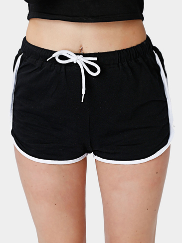 Black Drawstring Waist White Edge Running Shorts