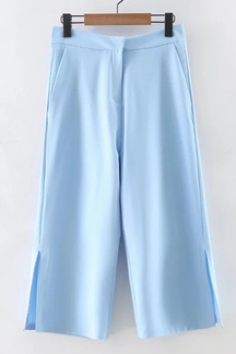 Stylish Plain Color Slit Details Wide Leg Trousers