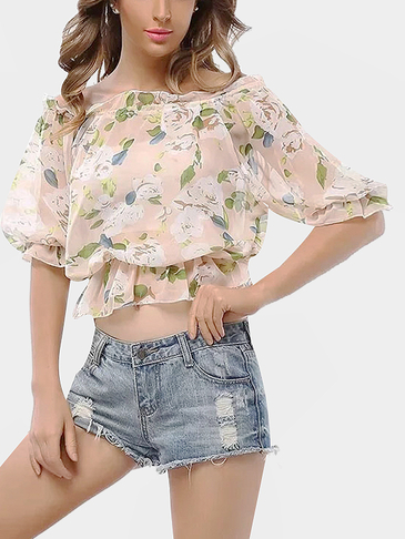 Sweet Off-the-shoulder Random Floral Print Chiffon Crop Top