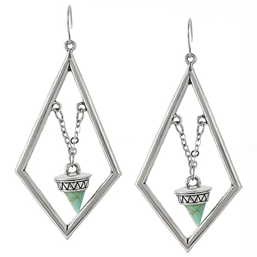 Rhombus Drop Earrings with Tapered pendant