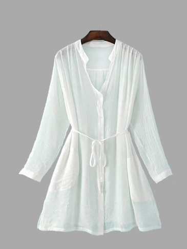 White Long Sleeves Chiffon Loose Shirt with Tie-up Design