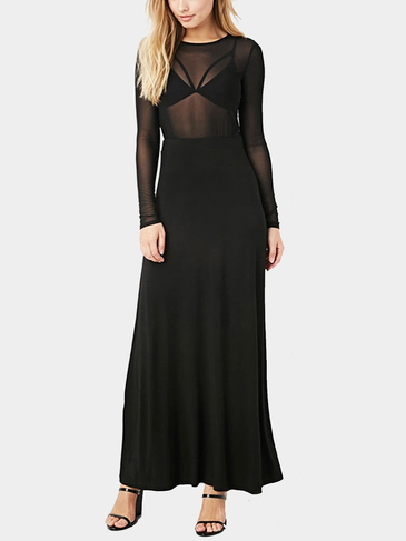 Black Sexy Mesh Stitching Swing Party Dress