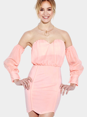 Pink Sweet heart Neckline Off-shoulder Body-conscious Sexy Dress