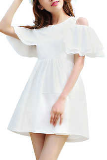 White Ruffled Sleeve High-waisted Cold Shoulder Skater Dress