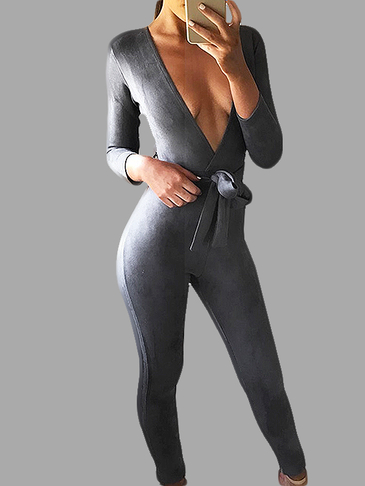 Grey Suede Deep V Neck Jumpsuits with Belts