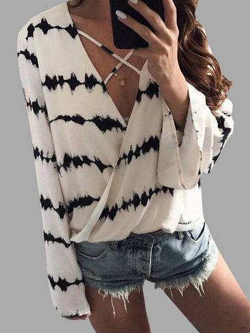 White Random Floral Print V-neck Long Sleeves Chiffon Top