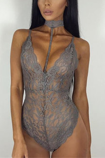 Grau Halfter Neck Strappy Lace Bodysuit