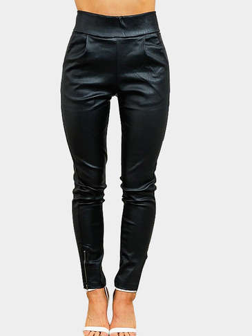 Black Leather Look Bodycon Leggings