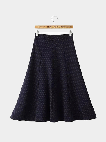 High Waist Stripe Midi Skirt