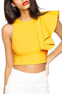 Yellow Top with One Frill Sleeve