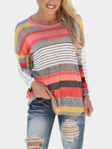 Random Color Block Stripe T-shirt With Lace Sleeves