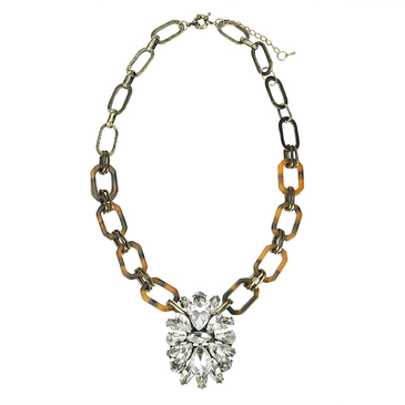 Diamond Necklace with Leopard Print Chain