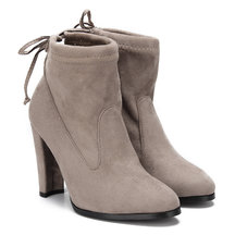 Suede Lace-up Heels Stiefeletten in Khaki