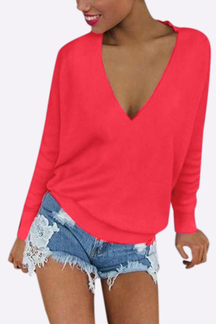 Sexy Velvet Details V Neck Top in Red
