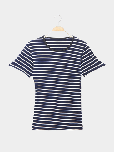 Double Color Stripe Pattern Casual T-shirts