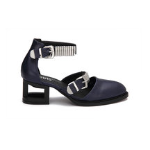 Dark Blue Leather Look Ankle Strap Silver Buckle Hollow Heel Shoes