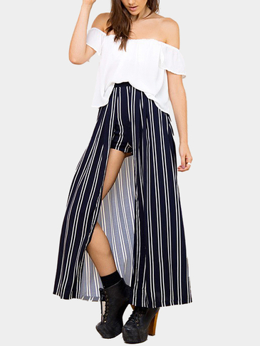 Fashion Off Shoulder Stripe Co-ord
