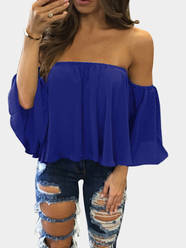 Blue Sexy Off Shoulder Loose Fit Bluse