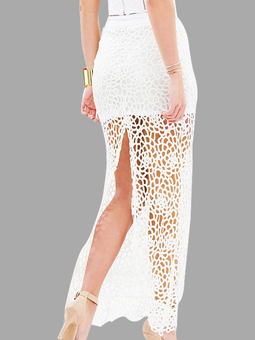 Fashion White Lace Hollow Splited Maxi Skirt