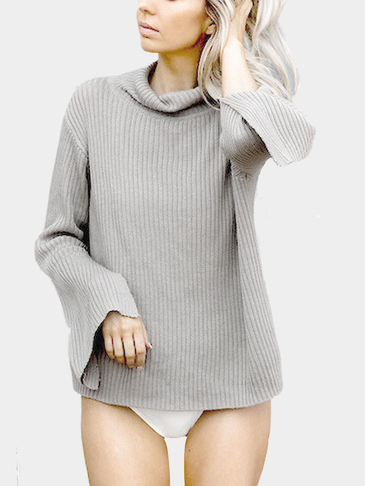 Gray High Neck Long Sleeves Thin Sweater With Splited Details