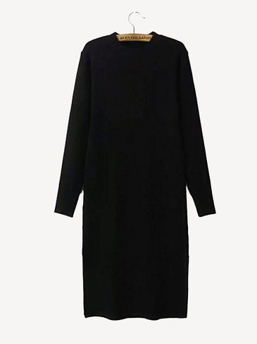 Long Sleeve Knitted Midi Dress with Side Split in Black