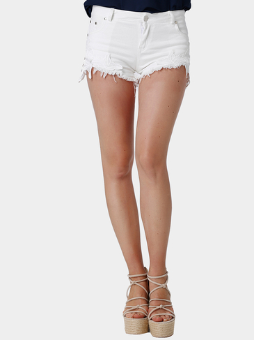 White Lace Details Jeans-Shorts