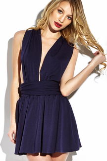 V-neck Multiway Self-tie Mini Dress