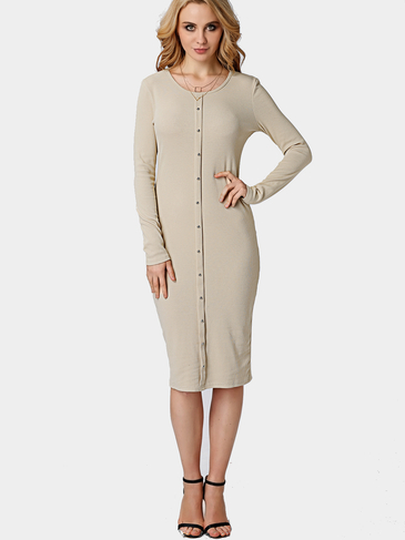 Khaki Single Breasted Round Neck Casual Midi T-shirt Dress