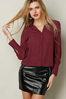 Burgundy Button-Down Chiffon Shirt