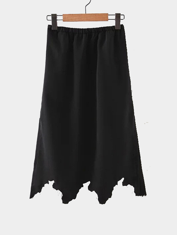 Black Lace Details Slit Design Midi Skirt