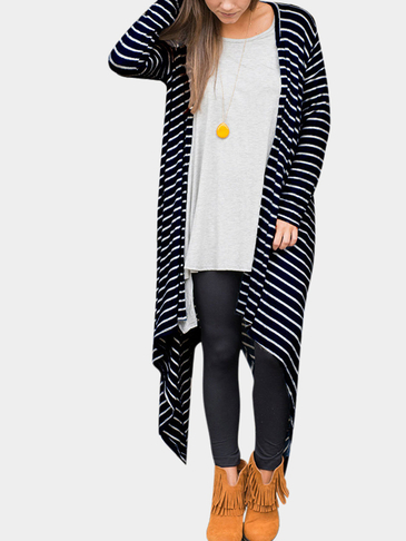 Stripe Pattern Open Front Cardigan With Irregular Hem