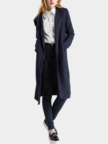 Navy Longline Lapel Collar Cardigan with Pocket