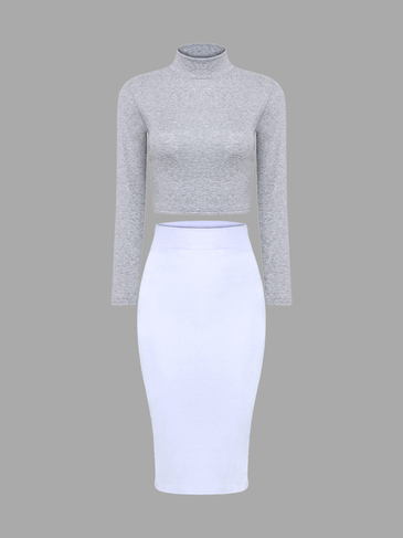 Серый High Neck Crop Top & White Midi юбка Co-ога