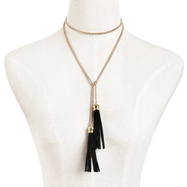 Gold Plated Long Length Metal Chian Tassel Necklace