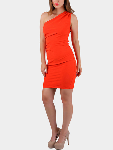 One Shoulder Zipper Back Bodycon Hem Sleeveless Dress