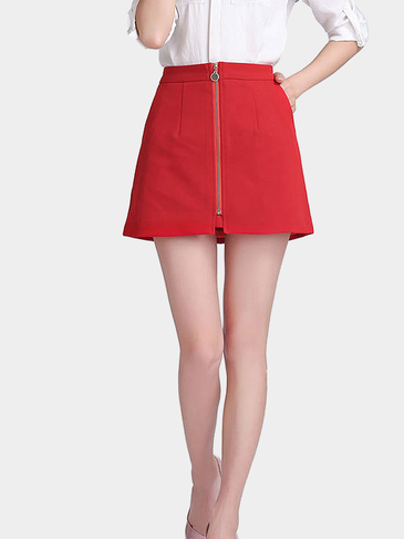 A-line Mini Skirt With Zip Front in Red