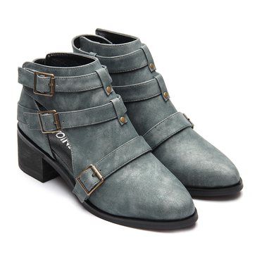 Green Fashion Cut Out Block Heel Ankle Boots