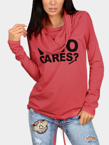 Red Casual Slogan Hooded Hoodie